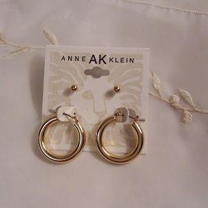 Anne Klein Gold Tone Hoop & Stud Earrings